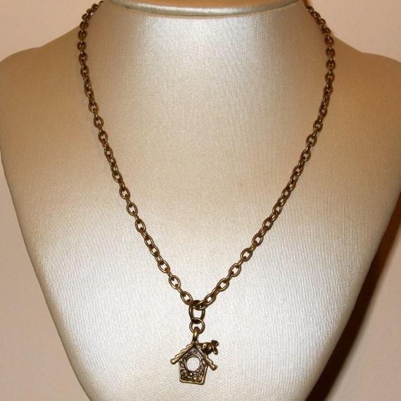 Birdhouse Necklace, Tiny Birdhouse Charm, Cute Bird Necklace, Mini Birdhouse, Charm Necklace, Simple Jewelry, Everyday Necklace, Bird Charm