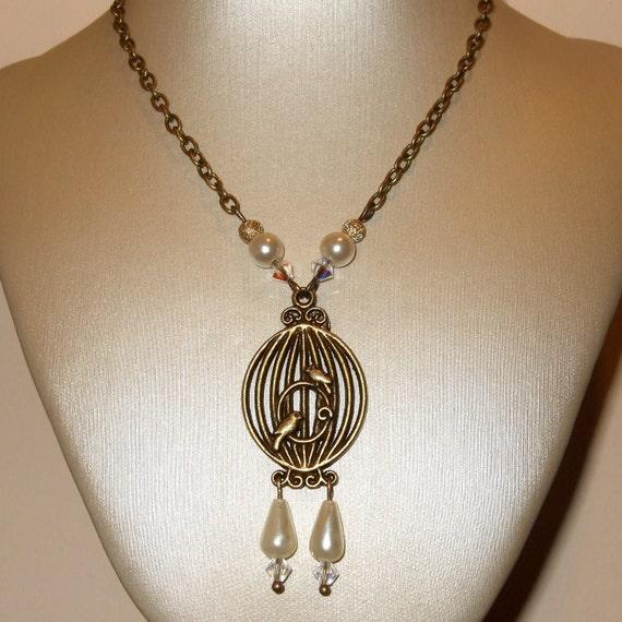 Birdcage Necklace, Pearl Drop Beads, Oval Birdcage, Vintage Style, Bronze Birdcage Charm, Ornate Charm, Retro Birdcage, Teardrop Pearls