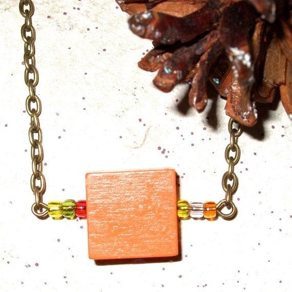 Orange Square Necklace, Wood Jewelry, Square Pendant, Wood Block, Bright Orange, Square Wood Bead, Square Bead, Simple Jewelry, Orange Wood