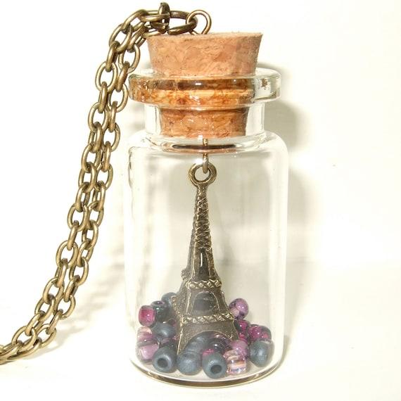 Eiffel Tower Bottle Necklace, Little Eiffel Tower Pendant, Paris Necklace, France Theme Necklace, Parisian Necklace, Purple Bottle Jewelry