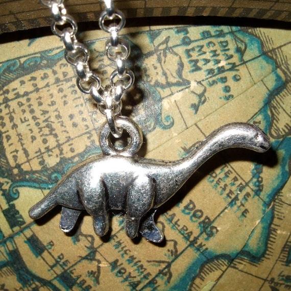 Dinosaur Necklace, Diplodocus Pendant, Silver Dinosaur Charm, Quirky Necklace, Mini Dinosaur, Simple Jewelry, Dinosaur Jewelry, Dino Charm