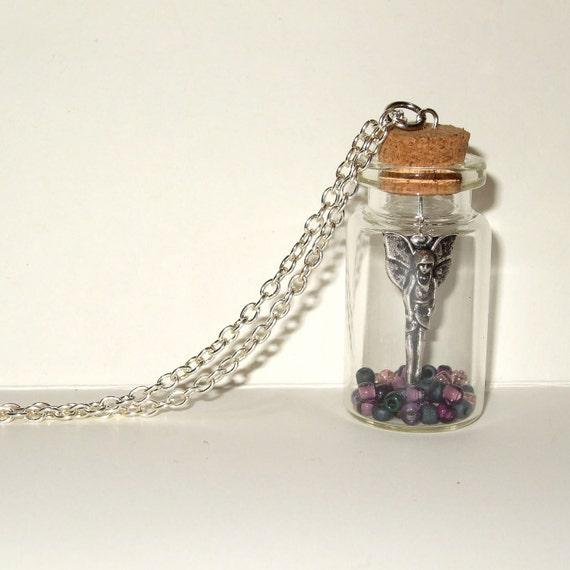 Bottle Necklace, Dark Angel, Fairy Necklace, Fairy in a Bottle, Glass Bottle Jewelry, Bottle Pendant, Gothic Jewelry, Angel in a Bottle