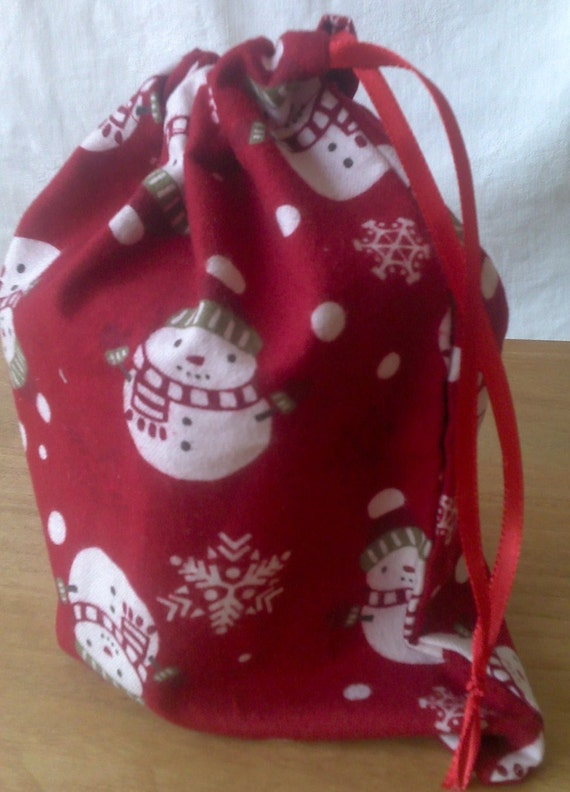 "Christmas Drawstring Gift Bag Snowmen Flannel Upcycled 8 1/2"" X 8 1/2"""
