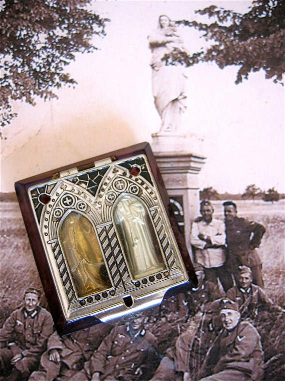 SALE Beautiful 1900's Glass Pocket Shrine with MADONNA and St. ANTHONY-  Unique and quite fabulous