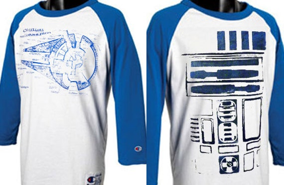 Custom Blue, Yellow,Red, or Black  Raglan Baseball Tshirt - choose Star Wars, Back to the Future, or Harry Potter SIZE M