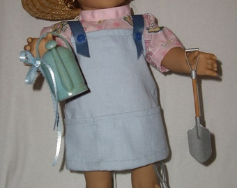 9 Piece Gardeneing Outfit - fits American Girl Dolls and other 18 inch dolls