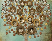 Family Tree Art - Custom Five Generation with 14 Photos and 48 labels - Blue