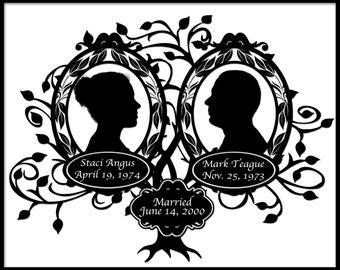 Wedding Tree with Silhouettes of the Bride and Groom