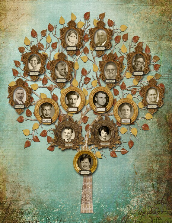 Family Tree - Custom with 15 Photos - Blue Background