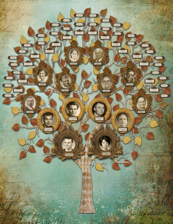 family tree art custom five generation with 14 photos and 48