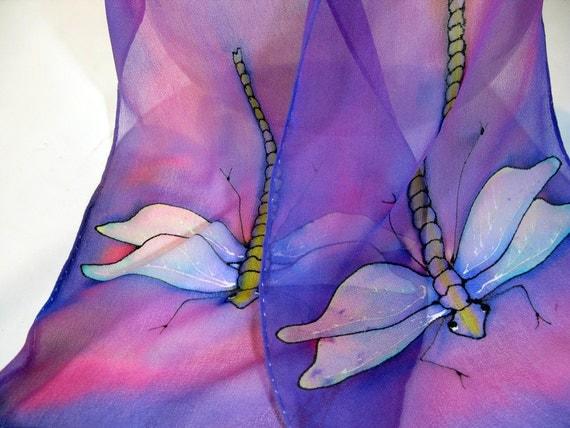 "Painted silk scarf. Dragonfly Silk Scarf. Hand-painted silk scarf. ETSY. 8""x52"" chiffon. Handpainted silk scarves. Dragonfly scarf"