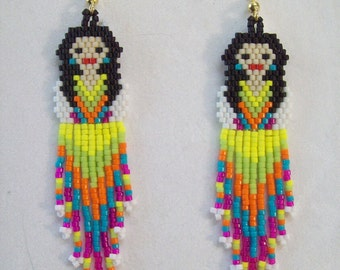 Mexican Fiesta Doll White Shirt Beaded Earrings Boho, Southwestern, Hippie, Native, Hipster, Great Gift,