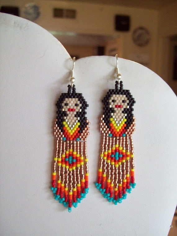 american style beaded indian doll earring copper and