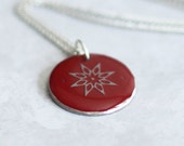 Gray Geometric Snowflake, Upcycled Red Wine Foil Washer Pendant Necklace