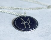 Items similar to Silver MB Letters, Upcycled Blue Wine Foil Washer ...