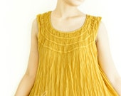 Sale 50% Off, Cotton Round Neck Vest Top in Yellow.
