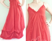 Romantic Maxi Baby Doll Dress in Red, Cotton Fabric, Tie Shoulder Straps