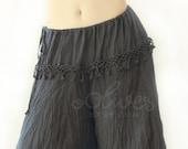 Cotton Wide Leg Loose Pants, Fisherman Pants with Drawstring in Black