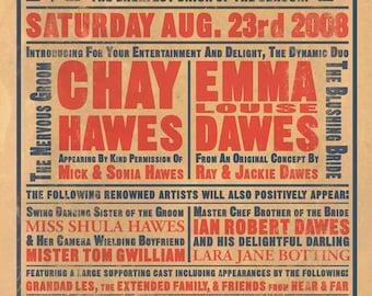 Music Hall Custom Bill Poster Print - Wedding / Anniversary Version - A3
