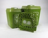 Vintage 1970's Plastic Kitchen Canister/ Picnic Set With White Flowers and Napkin Holder