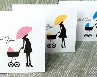 Baby Shower Carriage Thank you Note