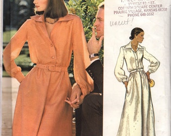 "1970s Vogue Couturier Design, Valentino Shirt Dress, Maxi or Knee Length Dress with Epaulets, Hostess Dress, Vogue 1063, Bust 36"", Uncut"