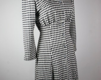 Vintage Black and White Checkered Dress by All That Jazz circa late 1980s.  Size 5/6  Made in the USA. Reduced 25%