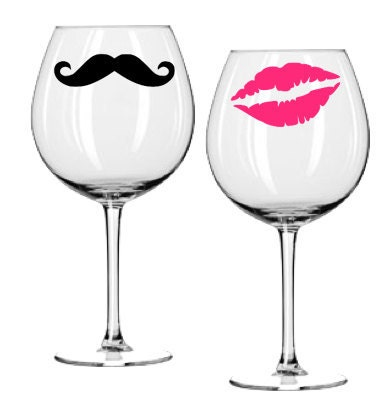 Wine Glass Decal Set Kiss And Mustache Hot Pink By