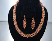 Christmas in July Sale:  Copper Cylon Matched Necklace and Earring Set