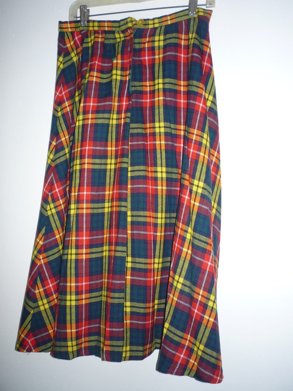 Perfect for FALL  Vintage 50s Plaid  Pleated Skirt Made in England for Robertson's of CA Sz XS Small
