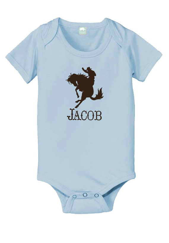 Personalized cowboy baby onesie with the name of your child