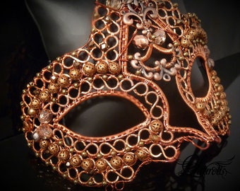 Copper metal Halloween Venetian mask