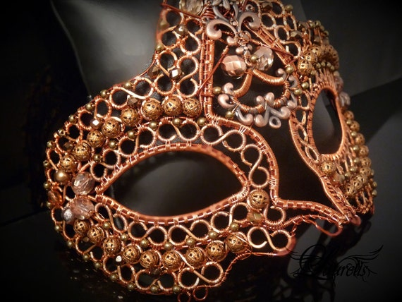 Copper metal Halloween Venetian mask