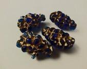 6 Vintage 22x14mm Dark Sapphire Gemmy Lucite Beads Bd17