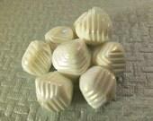 12 Vintage 10x12 White Ridged Iridescent Beads Luc187