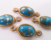 6 Vintage Turquoise Blue Lucite and Brass One Strand Connector Con03