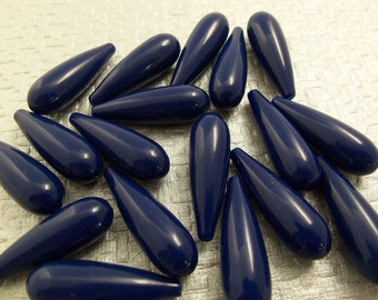 12 Vintage 30mm Navy Blue Lucite Teardrop Beads Bd74