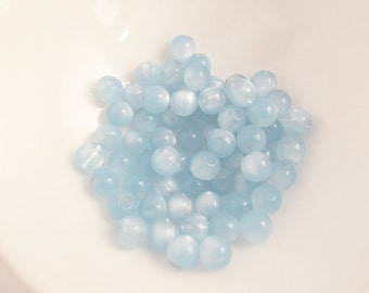 100 Vintage Lucite 6mm Ice Blue Side-Drilled Moonglow Button Beads Luc105