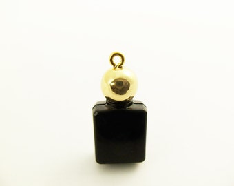 2 Vintage 25x12mm Dainty Black and Gold Perfume Bottle Charm Pendant Pd89