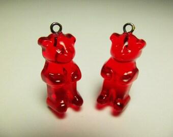 4 Red Gummi Bear Charms Pd92