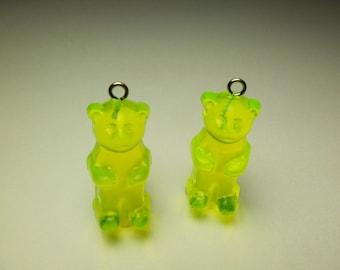 4 Neon Yellow Gummi Bear Charms Pd93