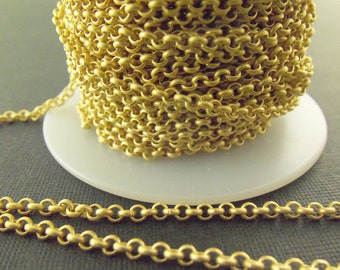 Matte Gold-Plated 3mm Brass Rolo Chain Ch24