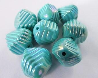 12 Vintage 10x12 Turquoise Ridged Iridescent Beads Bd174