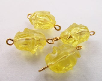 10 Vintage 20x10mm Translucent Yellow Boulder Connectors Con38
