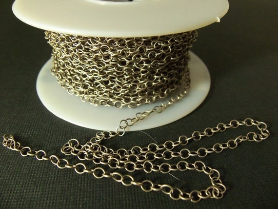 2 Ft Matte Antiqued Silver-Plated 3mm Brass Round Link Chain Ch38