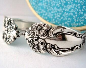 Antique Spoon Bracelet, Size Medium, Tiger Lily 1901, Floral Design