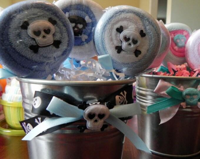 Rock & Roll Skulls Washcloth Lollipop Pail - unique baby shower gift punk rock infant washcloth boy girl neutral