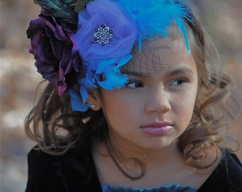 PEACOCK- Mini Top Hat Purple and Turquoise - for special occasions, photo shoots, pageants,babies,parties, circus and birthdays.