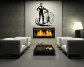 """Bicycle Decal   Antique Bicycle Decal   Bicycle and Man   Vinyl Wall Decal   Hipster Decal   Hipster Decor   44""""W x 51.5""""H 22087"""