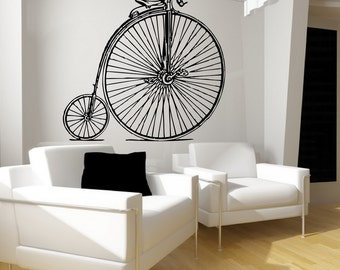 Vinyl Wall Decal | Antique Bicycle Decal | Antique Bike Decal | Retro Decor 22086 | Hipster Room Decor | Retro Bike | Wall Graphic